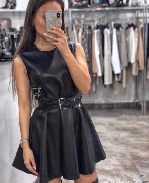 Платье С Кожаными Ремешками