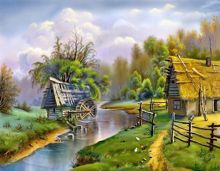 Открытки с домиком в деревне
